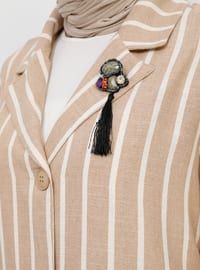 Beige - Stripe - Unlined - Shawl Collar - Cotton - Viscose - Topcoat