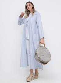 Blue - Navy Blue - Unlined - Cotton - Plus Size Coat