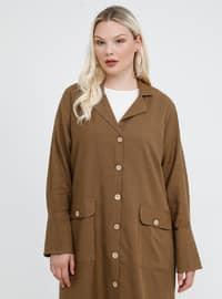 Kahverengi - Şal yaka - Astarsız kumaş - Pamuk - Keten - Büyük ceket