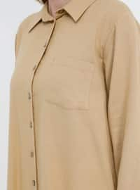 Camel - Point Collar - Cotton - Plus Size Tunic