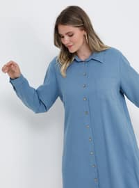 Blue - Indigo - Point Collar - Cotton - Plus Size Tunic