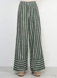 Khaki - Stripe - Cotton - Culottes