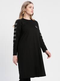 Black - Crew neck - Plus Size Tunic