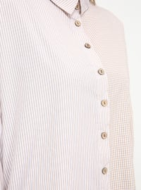 Minc - Checkered - Point Collar - Cotton - Plus Size Tunic