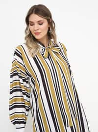 Green - Olive Green - Stripe - Crew neck - Plus Size Tunic