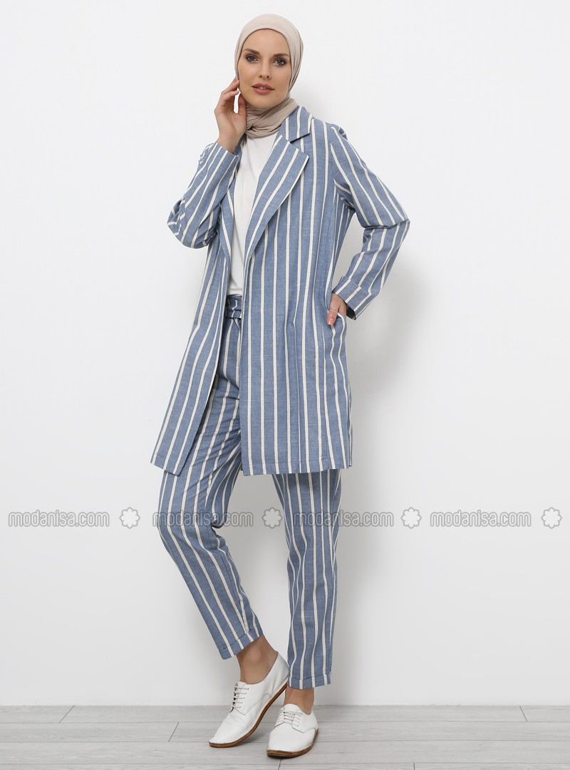 Blue - Baby Blue - Stripe - Shawl Collar - Cotton - Viscose - Jacket