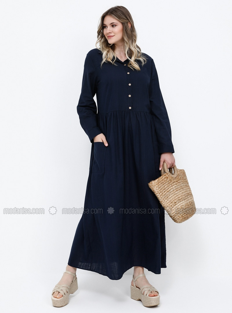 Navy Blue - Unlined - Point Collar - Cotton - Plus Size Dress