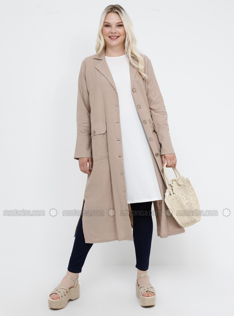 Beige - Shawl Collar - Unlined - Cotton - Linen - Plus Size Jacket