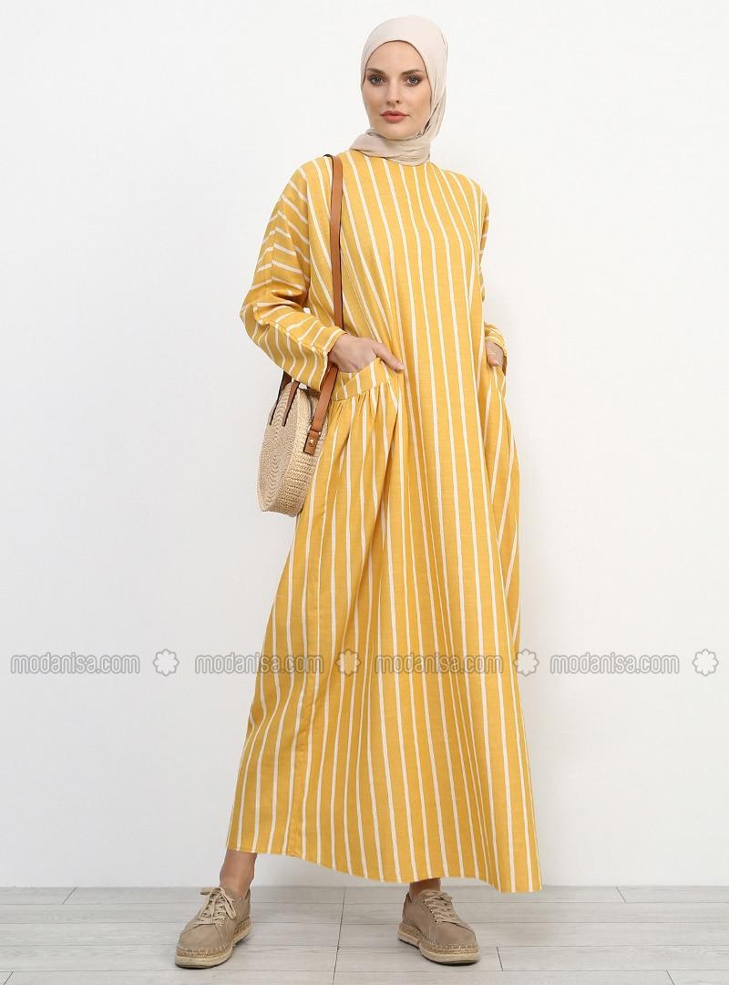 Senfgelb - Gestreift - Rundhalsausschnitt - Ohne Innenfutter - Baumwolle -  Leinen - Hijab Kleid