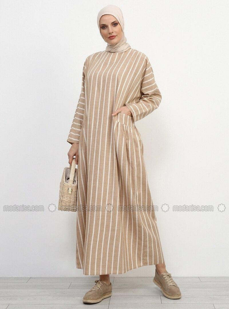 Minc - Stripe - Crew neck - Unlined - Cotton - Linen - Dress