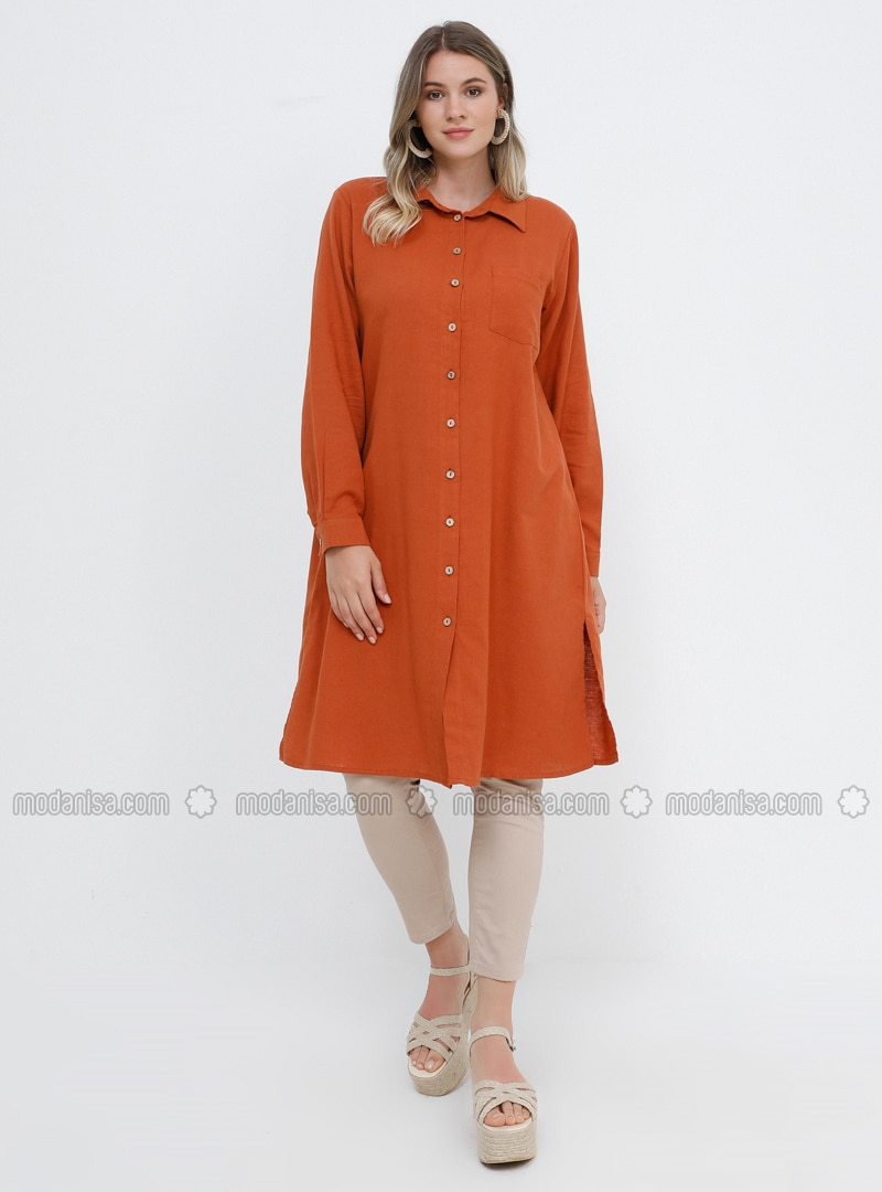- Point Collar - Cotton - Plus Size Tunic