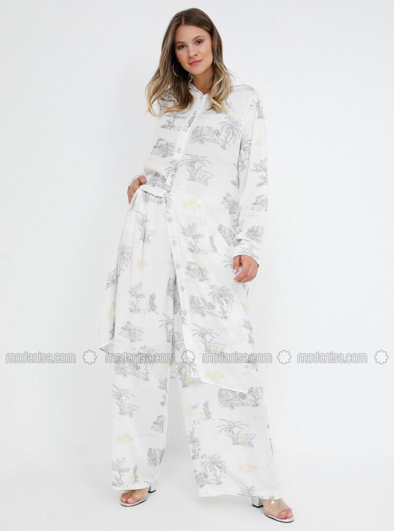 White - Gray - Ecru - Multi - Viscose - Plus Size Pants