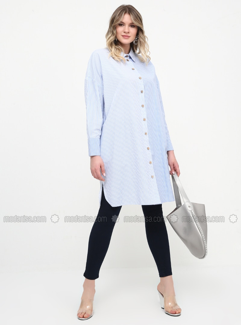 Blue - Checkered - Point Collar - Cotton - Plus Size Tunic