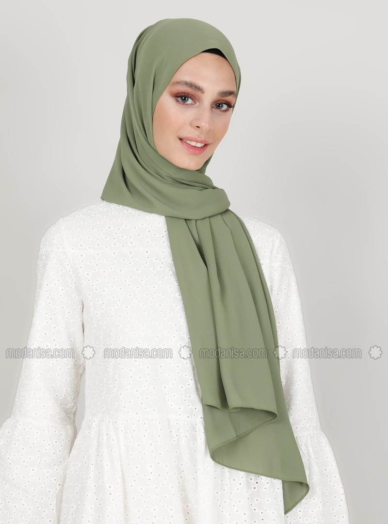 Green - Plain - Crepe - Shawl