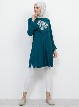 Green - Emerald - Crew neck - Viscose - Tunic
