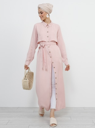 Pink - Powder - Unlined - Point Collar - Viscose - Topcoat