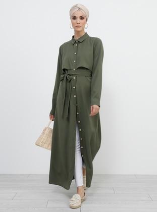 Khaki - Unlined - Point Collar - Viscose - Topcoat