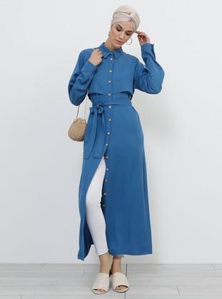 Blue - Indigo - Unlined - Point Collar - Viscose - Topcoat