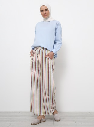 White - Ecru - Terra Cotta - Stripe - Cotton - Pants