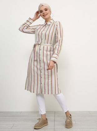 White - Ecru - Maroon - Stripe - Point Collar - Cotton - Tunic