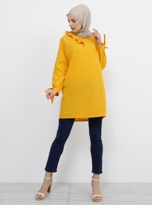 Mustard - V neck Collar - Cotton - Tunic