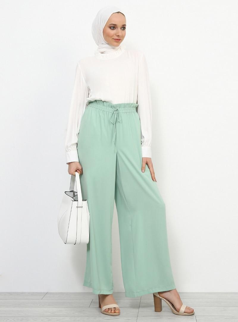 Tesettür Pantolon Etek Refka Yeşil Su Yeşili Kadın 40