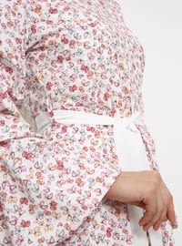 White - Pink - Ecru - Floral - Polo neck - Fully Lined - Dress
