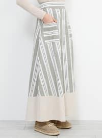 Khaki - Stripe - Unlined - Cotton - Skirt