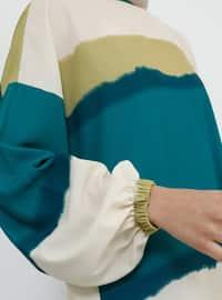 Green - Khaki - Emerald - Crew neck - Tunic
