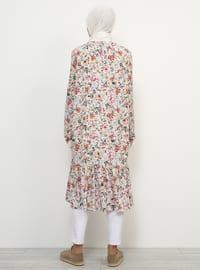 Beige - Floral - Unlined - Crew neck - Topcoat