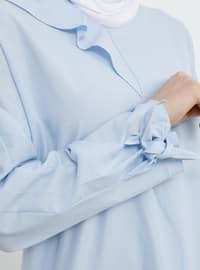 Blue - V neck Collar - Cotton - Tunic