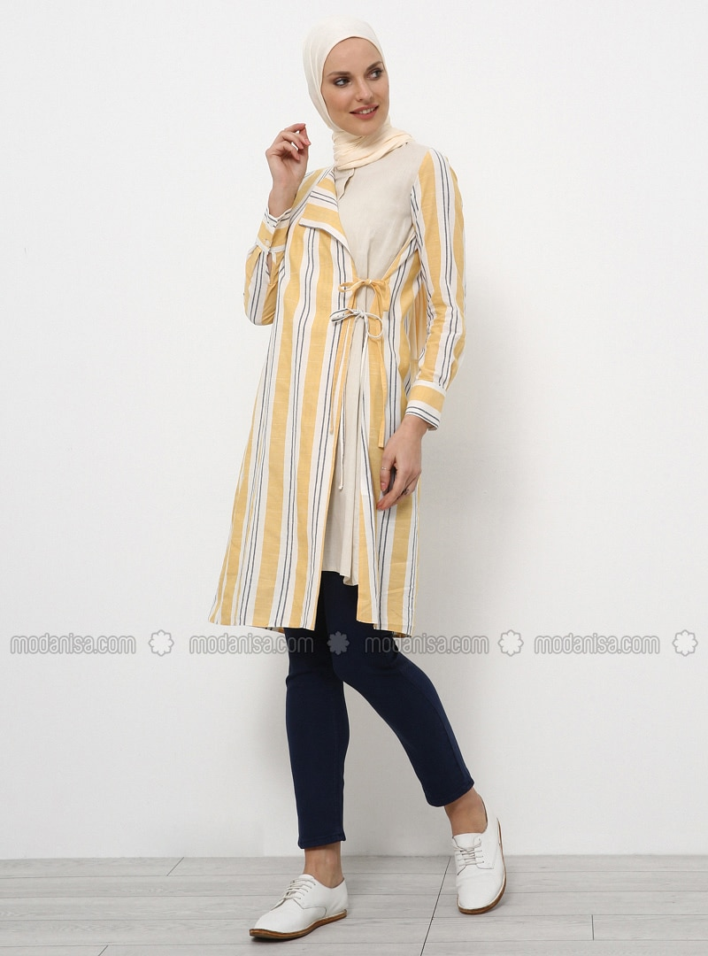 Mustard - Stripe - Crew neck - Cotton - Tunic