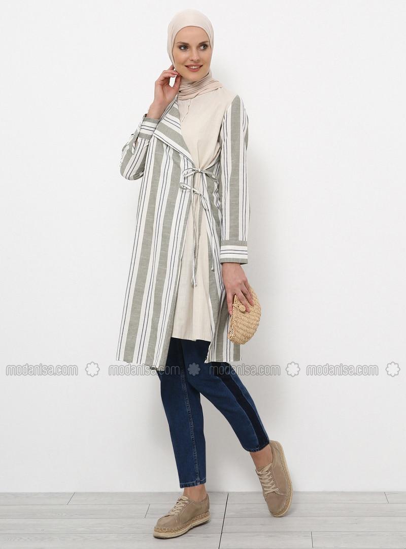 Khaki - Stripe - Crew neck - Cotton - Tunic