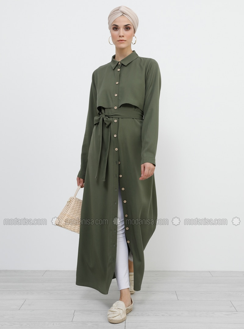 Khaki - Unlined - Point Collar - Viscose - Topcoat