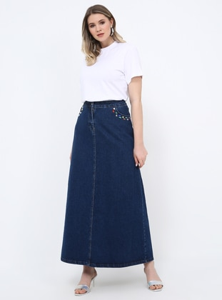 Blue - Unlined - Cotton - Denim - Plus Size Skirt