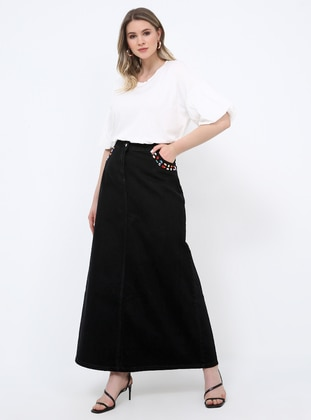 Black - Unlined - Cotton - Denim - Plus Size Skirt - Alia