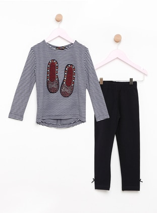 Navy Blue - Crew neck - Stripe - Kids Pijamas - Şımart