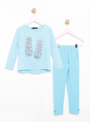 Blue - Crew neck - Stripe - Kids Pijamas - Şımart