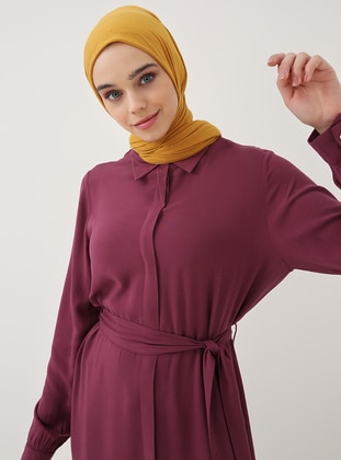 Plum - Point Collar - Unlined - Viscose - Dresses