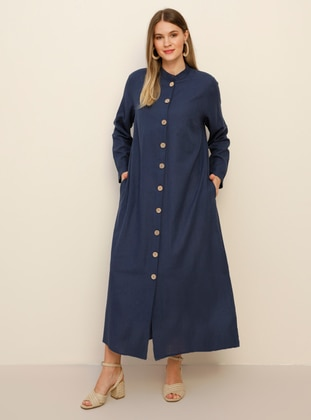 Navy Blue - Unlined - Crew neck - Cotton - Plus Size Coat - Alia