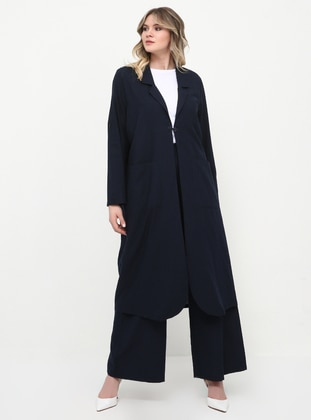 Navy Blue - Unlined - Shawl Collar - Cotton - Plus Size Coat - Alia
