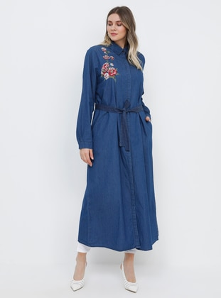 Blue - Navy Blue - Unlined - Point Collar - Cotton - Denim - Plus Size Coat