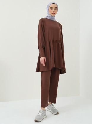 Brown - Cotton - Pants