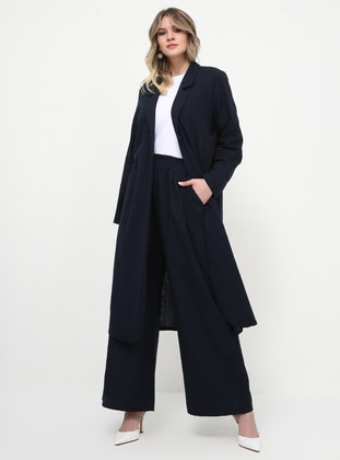 Navy Blue - Cotton - Plus Size Pants - Alia