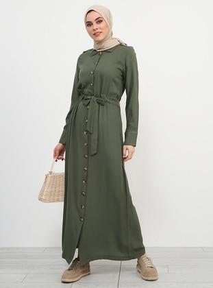 Khaki - Point Collar - Unlined - Viscose - Dresses