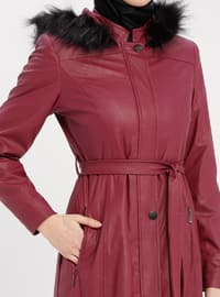 Plum - Cherry - Fully Lined - Crew neck - Topcoat
