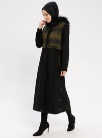 Black - Khaki - Plaid - Fully Lined - Crew neck - Coat