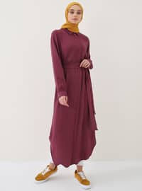 Plum - Point Collar - Unlined - Viscose - Dresses