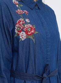 Blue - Navy Blue - Unlined - Point Collar - Cotton - Denim - Plus Size Coat