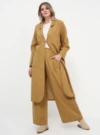 Yellow - Cotton - Plus Size Pants